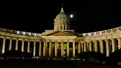 Kazan Cathedral at night, St. Petersburg, Russia (Hyper-Lapse) Stock Footage