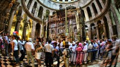 4K UHD Church of the Holy Sepulchre timelapse The Rotunda and the Edicule Stock Footage