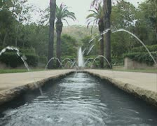 Ground view of long fountain Stock Footage