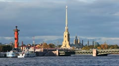 Stock Video Footage of Peter and Paul Fortress, Rostral Column and Palace Bridge