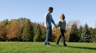 AA072801 happy young couple people fall 2 Stock Footage
