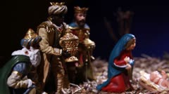 Nativity scene with the Holy Family - stock footage