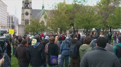 Occupy Detroit encampment in downtown's Grand Circus Park Stock Footage