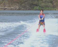 Woman waterskiing Stock Footage