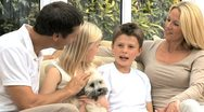 Caucasian Family at Home with Their Dog Stock Footage