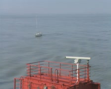 View of sea from rear of ferry Stock Footage