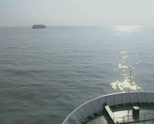 View of sea from front of ferry Stock Footage