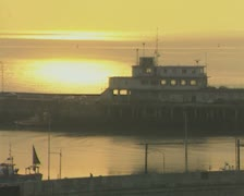 View of harbour at sunrise Stock Footage