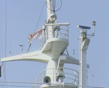 Close up of top of ferry with radar antenna Stock Footage
