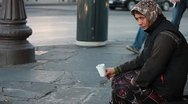 Stock Video Footage of Woman homeless in city begging