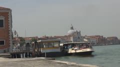 Timelapse Boats station in Venice, Italy water transportation Stock Footage