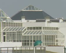 View of building with conservatory windows and roof Stock Footage