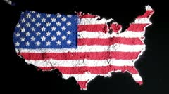US map, black, zoom in, contiguous Stock Footage