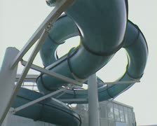 View of waterpark swimming chute from underside Stock Footage