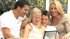 Caucasian Family Using Wireless Tablet for Online Video Chat Stock Footage