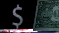 Money, one dollar and currency symbol Stock Footage