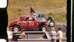 Racecars Ready! Start Go! Racetrack Demolition 1940s Vintage Film Home Movie 990 Stock Footage