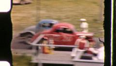CAR RACE Demolition HOT ROD Drag RACING 1950s Vintage Old Film Home Movie 991 - stock footage