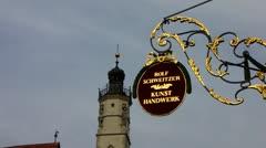 Rothenburg ob der Tauber shop sign Bavaria Germany Stock Footage