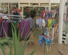 Shot of racks of clothing and swimwear Stock Footage