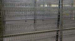 bankrupt video store #2, empty wire shelves, pan - stock footage