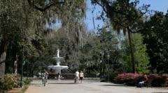 Savannah Forsyth Fountain in Forsyth Park - stock footage