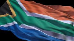 South African flag ripple Stock Footage