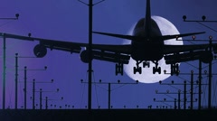 Jumbo Jet Landing Night with Moon plus Audio Stock Footage