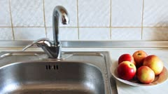 Hands Woman Wash Apple Stock Footage
