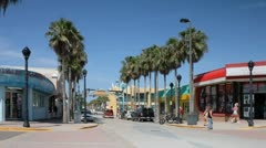 Small Shops along Ocean avenue in Daytona beach. Stock Footage