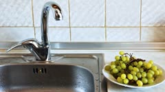 Hands Woman Wash Grapes Stock Footage
