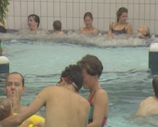 People standing in pool Stock Footage