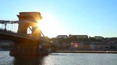 Szechenyi Chain Bridge Budapest Hungary 01 - stock footage