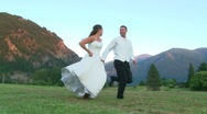 Stock Video Footage of Runaway Bride and Groom
