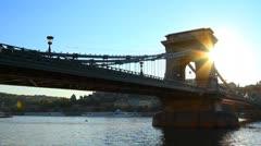 Szechenyi Chain Bridge Budapest Hungary 03 Stock Footage