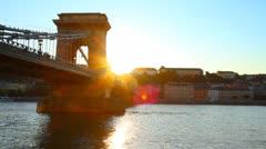 Szechenyi Chain Bridge Budapest Hungary 04 - stock footage