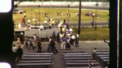 People Race Old Cars Dragstrip Racetrack 1950s Vintage Film Home Movie 1012 Stock Footage