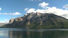 Banff National Park, Lake Minnewanka Mt Inglismaldie in late summer Stock Footage