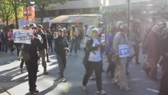 Crowd protest - occupy wall street in vancouver - chanting, protesting - stock footage