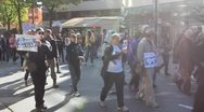 Crowd protest - occupy wall street in vancouver - chanting, protesting Stock Footage