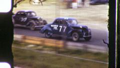 Cars on Racetrack Demolition Derby Dragstrip 1940s Vintage Film Home Movie 1011 Stock Footage
