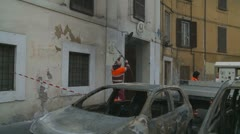 Roman council workers clean up Rome after riot - stock footage