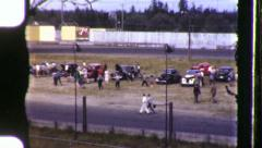Race Over Demolition Derby Drag Strip Racetrack 40s Vintage Film Home Movie 1013 Stock Footage