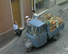 Truck with vegetables in back Stock Footage