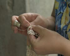 Close up of woman sewing lace Stock Footage