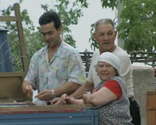 People at selling stall Stock Footage