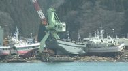 Japan Tsunami Aftermath - Ships Washed Into Port In Kesennuma City Japan Stock Footage