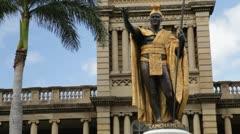Stock Video Footage of King Kamehameha statue (closeup, pan), Honolulu