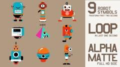 Cartoon robot loop Stock Footage