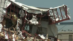 Japan Tsunami Aftermath - Building Ripped Apart In Kesennuma City - stock footage